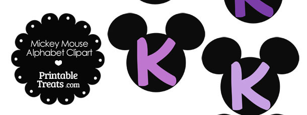 Purple Mickey Mouse Head Letter K Clipart