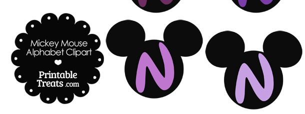 Purple Mickey Mouse Head Letter N Clipart