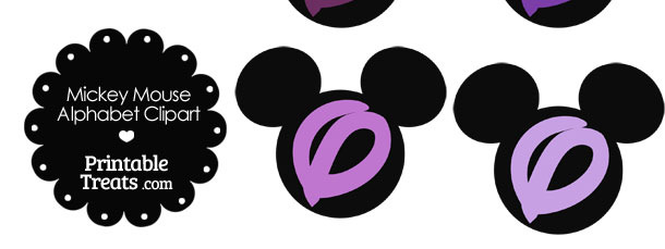 Purple Mickey Mouse Head Letter O Clipart