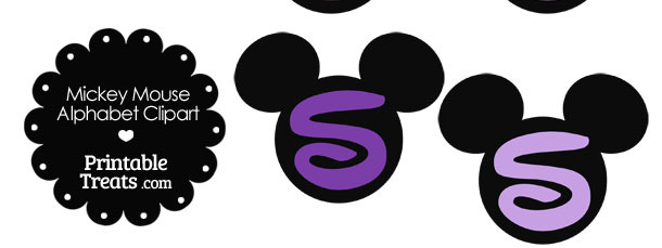 Purple Mickey Mouse Head Letter S Clipart