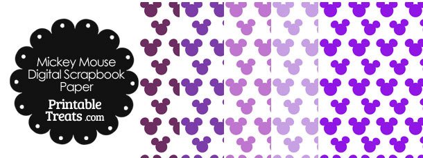 Purple Mickey Mouse Head Scrapbook Paper