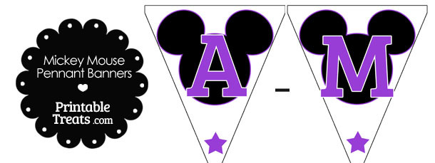 Purple Mickey Mouse Pennant Banner Letters A-M