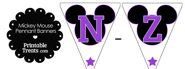 Purple Mickey Mouse Pennant Banner Letters N-Z