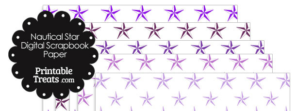 Purple Nautical Star Digital Scrapbook Paper