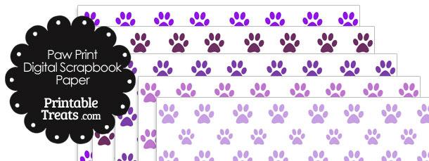 Purple Paw Print Digital Scrapbook Paper