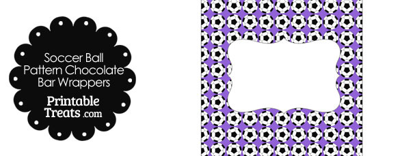 Purple Soccer Ball Pattern Chocolate Bar Wrappers