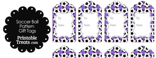 Purple Soccer Ball Pattern Gift Tags