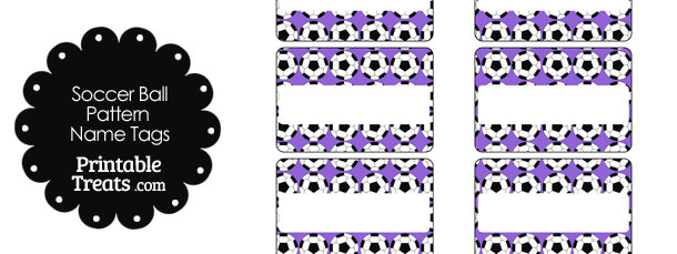 Purple Soccer Ball Pattern Name Tags