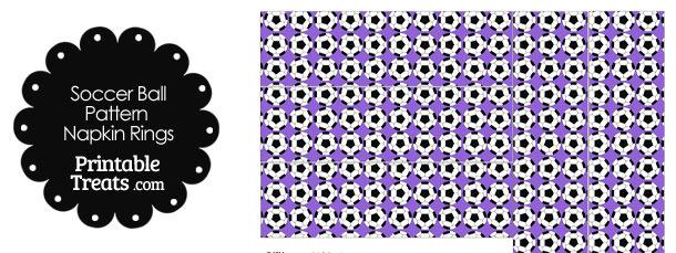 Purple Soccer Ball Pattern Napkin Rings