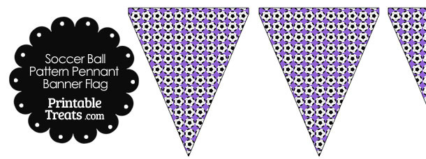 Purple Soccer Ball Pattern Pennant Banner Flag