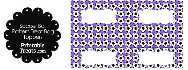Purple Soccer Ball Pattern Treat Bag Toppers