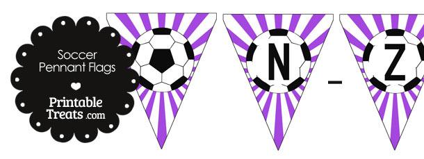Purple Soccer Party Flag Letters N-Z