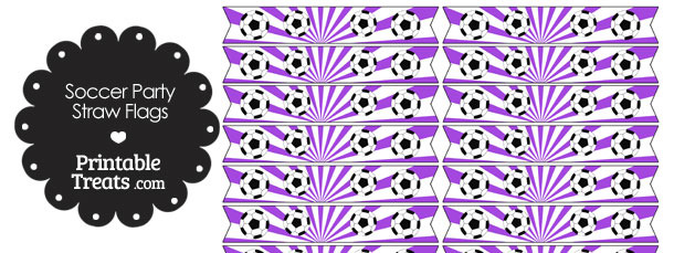 Purple Soccer Party Straw Flags