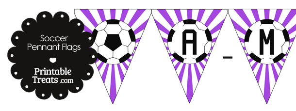 Purple Soccer Pennant Banner Flag Letters A-M
