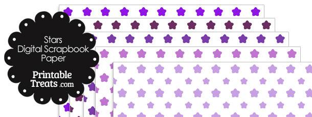 Purple Star Digital Scrapbook Paper