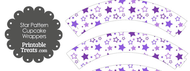 Purple Star Pattern Cupcake Wrappers