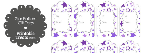 Purple Star Pattern Gift Tags