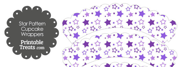 Purple Star Pattern Scalloped Cupcake Wrappers
