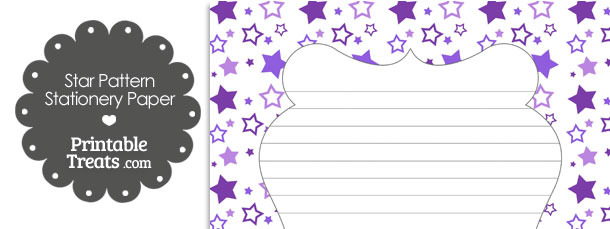 Purple Star Pattern Stationery Paper