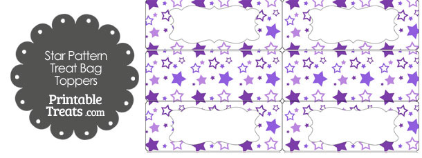 Purple Star Pattern Treat Bag Toppers