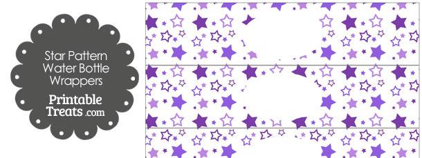 Purple Star Pattern Water Bottle Wrappers