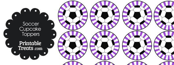 Purple Sunburst Soccer Cupcake Toppers