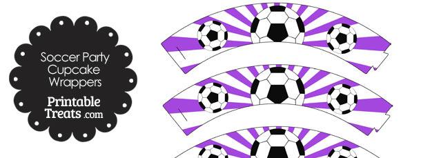 Purple Sunburst Soccer Cupcake Wrappers