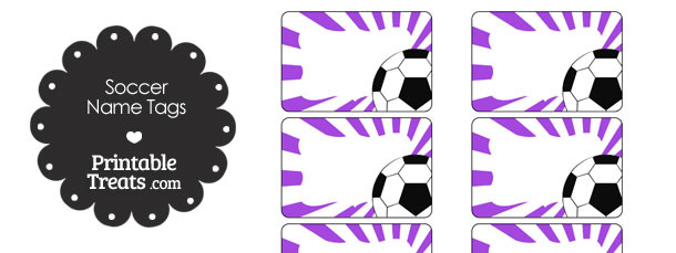 Purple Sunburst Soccer Name Tags