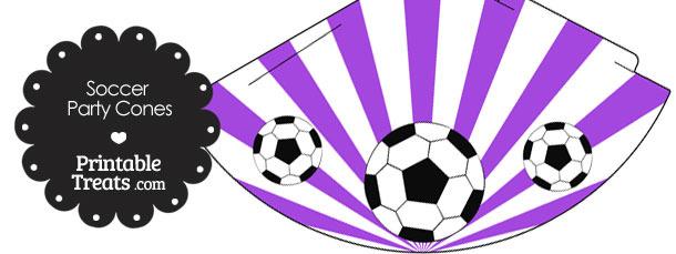 Purple Sunburst Soccer Party Cones