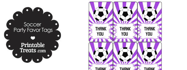 Purple Sunburst Soccer Party Favor Tags