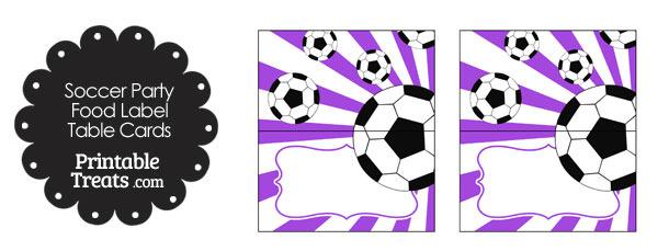 Purple Sunburst Soccer Party Food Labels