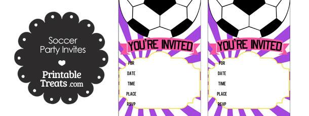 Purple Sunburst Soccer Party Invites