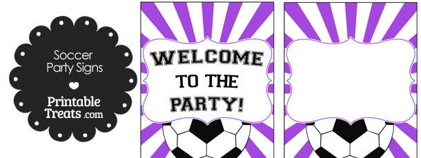Purple Sunburst Soccer Party Signs