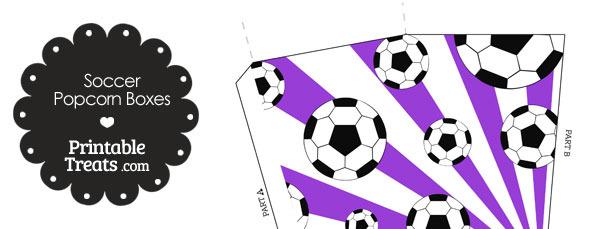 Purple Sunburst Soccer Popcorn Boxes