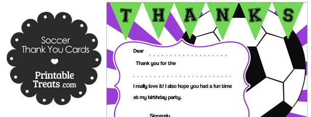 Purple Sunburst Soccer Thank You Cards