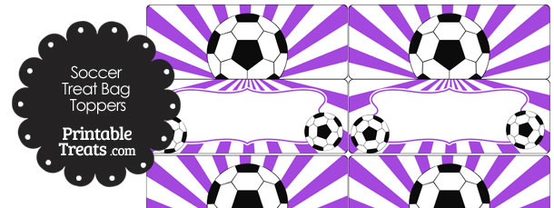 Purple Sunburst Soccer Treat Bag Toppers