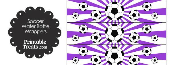Purple Sunburst Soccer Water Bottle Wrappers
