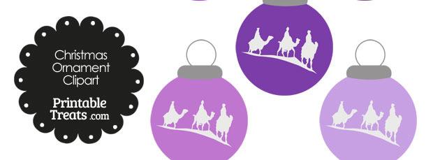 Purple Three Wise Men Christmas Ornament Clipart