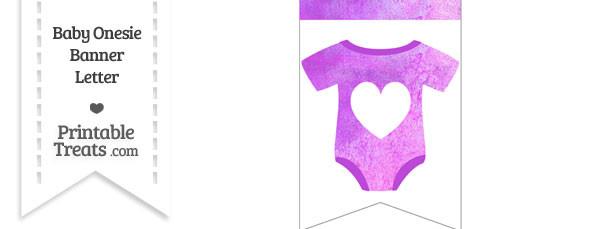 Purple Watercolor Baby Onesie Bunting Banner Heart End Flag