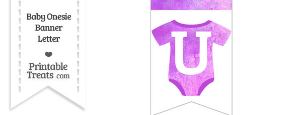 Purple Watercolor Baby Onesie Bunting Banner Letter U