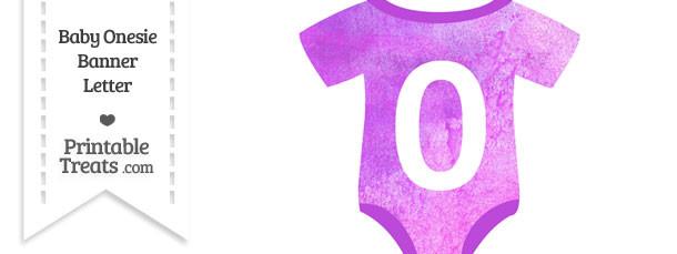 Purple Watercolor Baby Onesie Shaped Banner Number 0