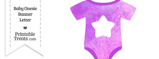 Purple Watercolor Baby Onesie Shaped Banner Star End Flag