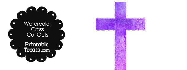 Purple Watercolor Cross Cut Outs