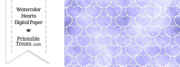 Purple Watercolor Hearts Digital Scrapbook Paper