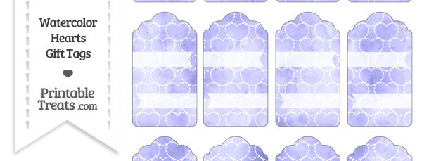 Purple Watercolor Hearts Gift Tags