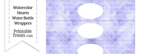 Purple Watercolor Hearts Water Bottle Wrappers