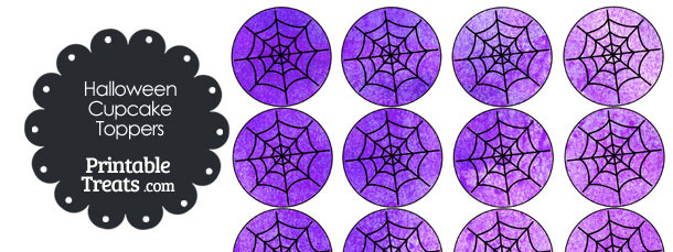 Purple Watercolor Spider Web Cupcake Toppers