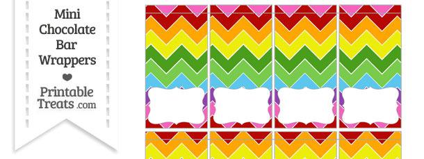 Rainbow Chevron Mini Chocolate Bar Wrappers