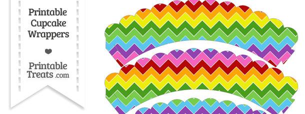 Rainbow Chevron Scalloped Cupcake Wrappers