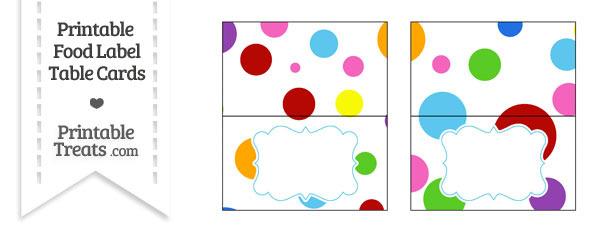 Rainbow Dots Food Labels